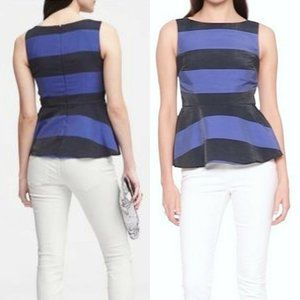 New Banana Republic Striped Sleeveless Peplum Top